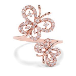 1/2ct Pink Diamond 9K Rose Gold Tomas Rae Butterfly Design Ring
