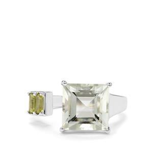 Prasiolite & Changbai Peridot Sterling Silver Ring ATGW 4.73cts