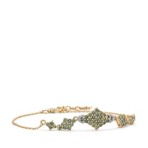 Alexandrite Bracelet with Diamond in 10K Gold 1.48cts