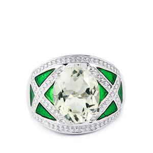 4.04ct Prasiolite Amethyst Sterling Silver Enamel Ring