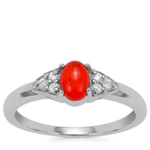Ethiopian Red Opal Ring with White Zircon in Sterling Silver 0.37cts