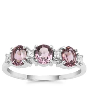 Burmese Pink Spinel Ring with White Zircon in 9K White Gold 1.33cts