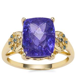 AAA Tanzanite Ring with Blue Diamond in 9K Gold 5.40cts