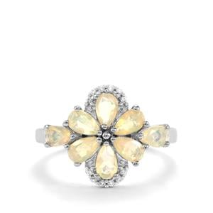 Ethiopian Opal & White Zircon Sterling Silver Ring ATGW 1.15cts