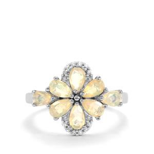 Ethiopian Opal Ring with White Zircon in Sterling Silver 1.15cts