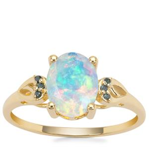 Kelayi Opal Ring with Blue Diamond in 9K Gold 1.14cts