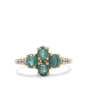 Grandidierite Ring with White Zircon in 9K Gold 1.39cts