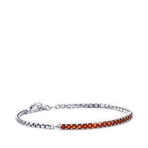 3.44ct Mozambique Red Garnet Sterling Silver Bracelet