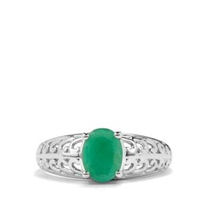 Minas Gerais Emerald Ring in Sterling Silver 1.25cts