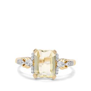 Minas Novas Hiddenite & White Zircon 9K Gold Ring ATGW 3.54cts