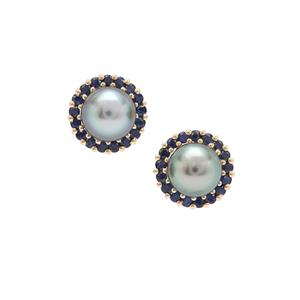 Tahitian Cultured Pearl Earrings with Blue Sapphire in 9K Gold (7mm)