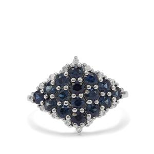 Australian Blue Sapphire Ring with White Zircon in 9K White Gold 1.85cts