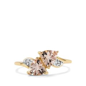 Alto Ligonha Morganite Ring with Diamond in 10K Gold 1.20cts