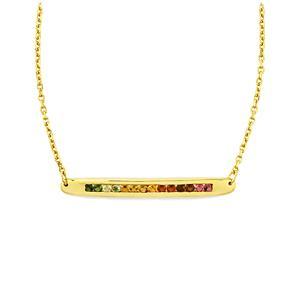 Rainbow Tourmaline Bridge Necklace in Gold Vermeil 0.95cts