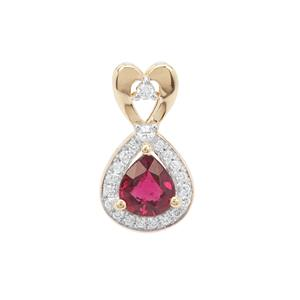Rubellite Pendant with Diamond in 18K Gold 0.73cts