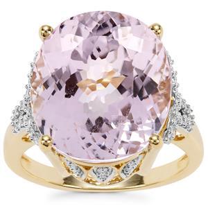 Kolum Kunzite Ring with Diamond in 18K Gold 13.34cts