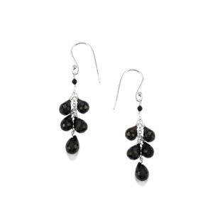 Black Spinel Bead Earrings in Sterling Silver 17cts