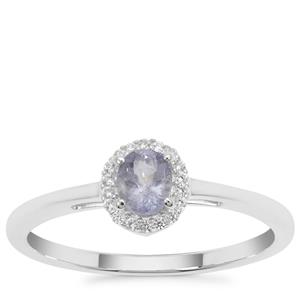 Cuprian Tourmaline Ring with White Zircon in Sterling Silver 0.35ct