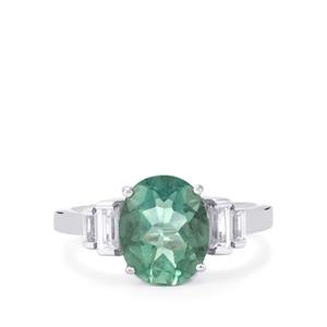 Tucson Green Fluorite & White Zircon Sterling Silver Ring ATGW 3.64cts