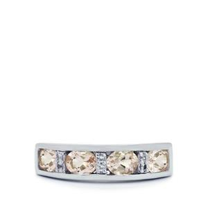 Zambezia Morganite & White Topaz Sterling Silver Ring ATGW 1.20cts