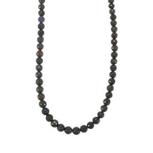 Ethiopian Midnight Opal Graduated Bead Necklace in Sterling Silver 33cts
