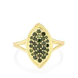 Green Diamond Ring in 10K Gold 0.51ct