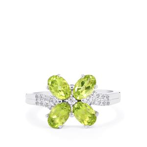 Pakistani Peridot Ring with White Zircon in Sterling Silver 2.37cts