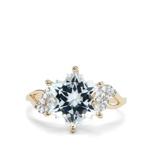 White Topaz Wobito Snowflake Ring with White Zircon in 10K Gold 5.74cts