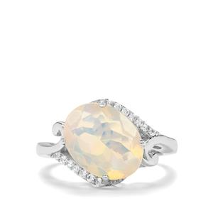 Ethiopian Opal & White Zircon Sterling Silver Ring ATGW 2.67cts