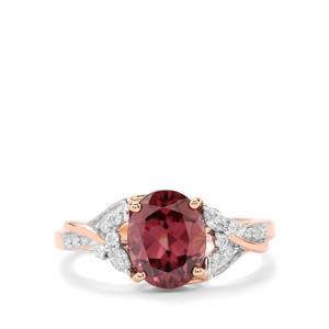 Zanzibar Zircon Ring with Diamond in 18K Rose Gold 3.18cts