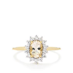 Goshenite & White Zircon 9K Gold Ring ATGW 1.27cts