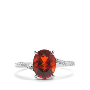 Madeira Citrine & White Topaz Sterling Silver Ring ATGW 2.20cts