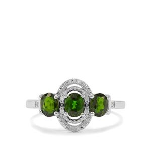 Siberian Diopside & Diamond Sterling Silver Ring ATGW 1.27cts