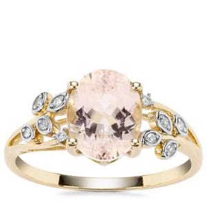 Nigerian Morganite Ring with Diamond in 9K Gold 1.77cts