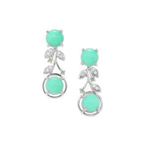 Prase Green Opal, Tsavorite Garnet Earrings with White Zircon in Sterling Silver 5.17cts
