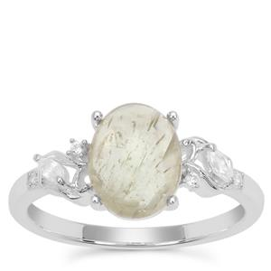 Menderes Diaspore Ring with White Zircon in Sterling Silver 2.25cts