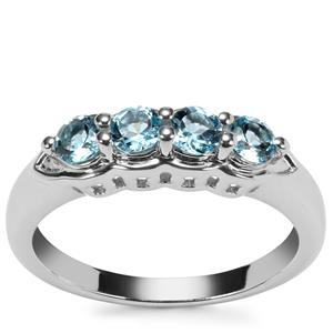 Swiss Blue Topaz Ring in Sterling Silver 0.76ct