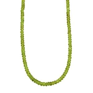 90ct Hunan Peridot Sterling Silver Bead Necklace with Magnetic lock