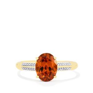 Zanzibar Sunburst Zircon & Diamond 14K Gold Tomas Rae Ring ATGW 3.20cts