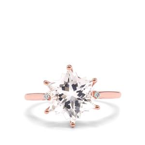 Itinga Petalite Wobito Snowflake Ring with Diamond in 10K Rose Gold 3.65cts