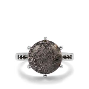 Midnight Astraeolite& Black Spinel Sterling Silver Ring ATGW 6.27cts
