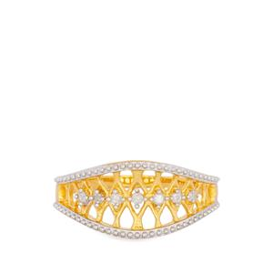 Diamond Ring in Gold Plated Sterling Silver 0.09ct
