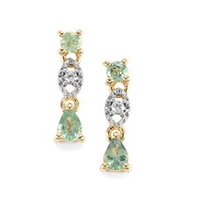 Alexandrite & White Zircon 9K Gold Earrings ATGW 0.50cts