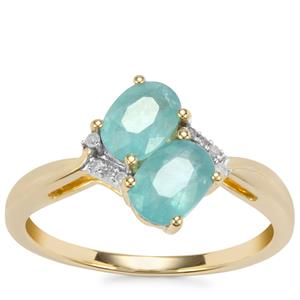 Grandidierite Ring with Diamond in 9K Gold 1.19cts