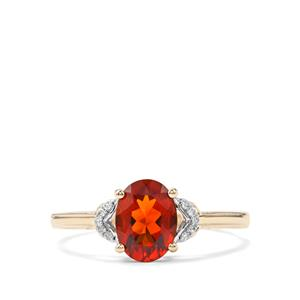 Madeira Citrine & Diamond 9K Gold Ring ATGW 1cts