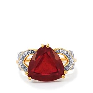 Malagasy Ruby Ring with White Zircon in 9K Gold 7.15cts (F)