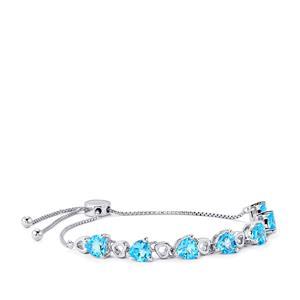 Swiss Blue Topaz Slider Bracelet in Sterling Silver 6.28cts