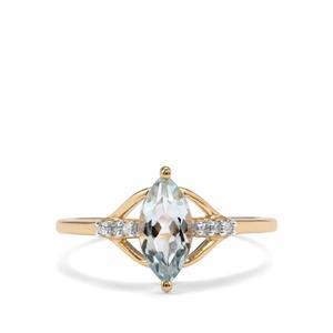 Pedra Azul Aquamarine & Diamond 9K Gold Ring ATGW 0.89cts