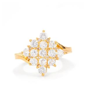 Ceylon White Sapphire Ring with White Topaz in Gold Plated Sterling Silver 1.61cts