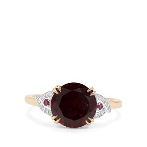 Tocantin Garnet, Rajasthan Garnet & Diamond 9K Gold Ring ATGW 3.95cts